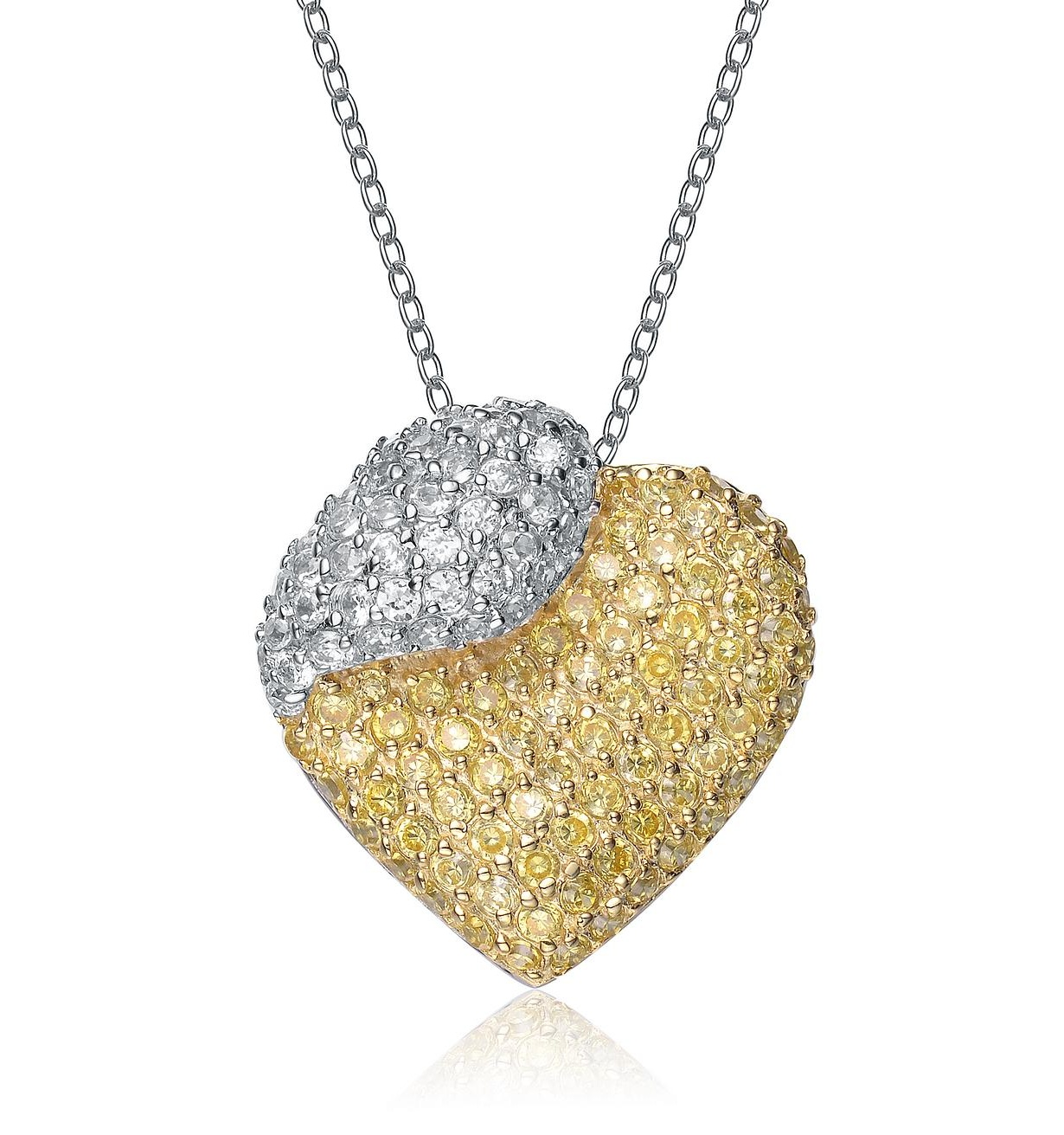 Rozzato Sterling Silver Gold Plated & White Cubic Zirconia Pendant