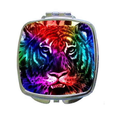 - Rainbow Colored Tiger Face Up Close Wildlife Animal Print Design - Compact Beauty Mirror - Square Shaped