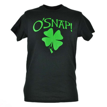 O'Snap Shamrock St Patrick Day Black Green Tshirt Tee Lucky Novelty Mens - Lucky Shamrock