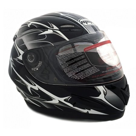 Motorcycle Full Face Helmet DOT Street Legal +2 Visors Comes with Clear Shield and Free Smoked Shield – Spikes BLACK 118S