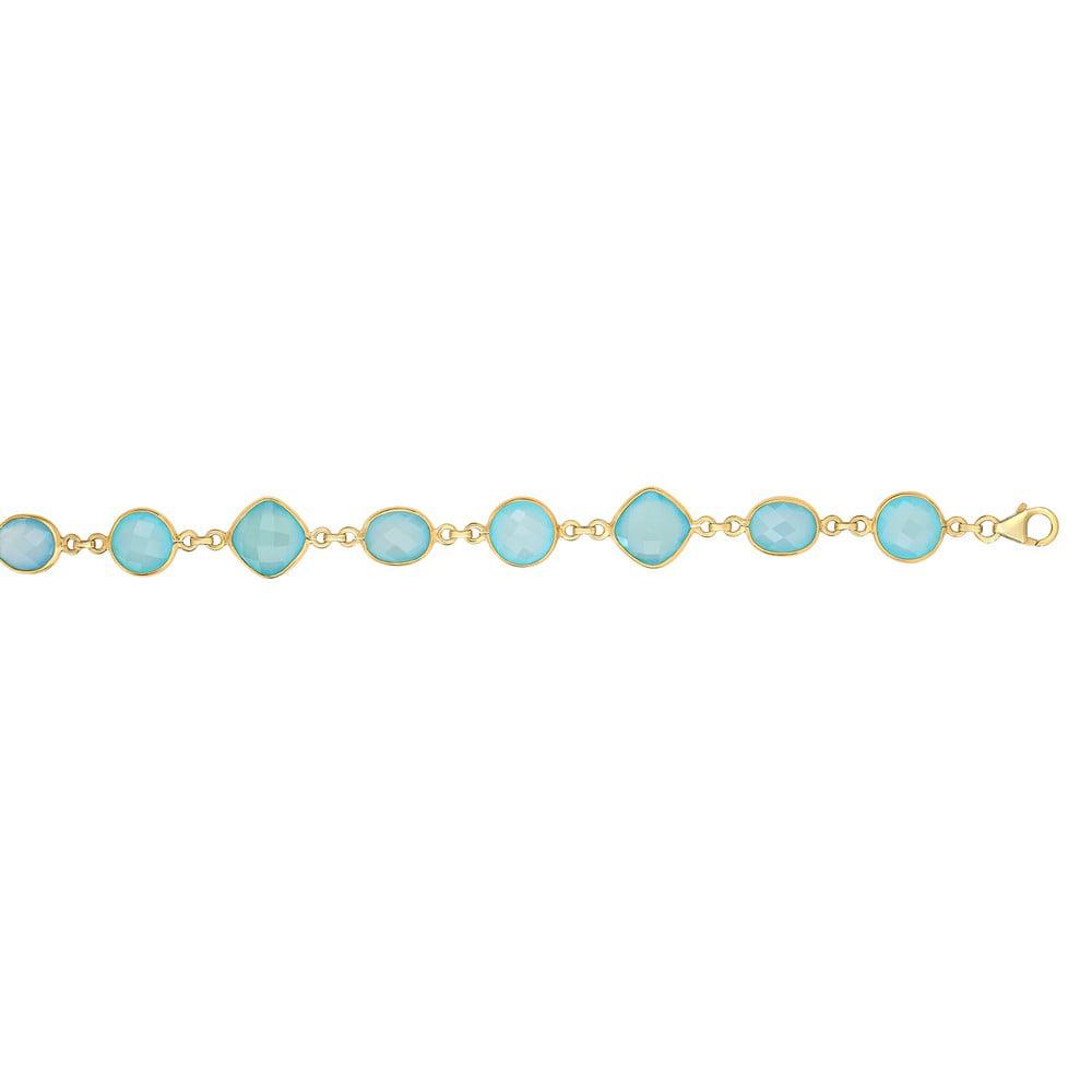 7.5 In Yellow Finish Alternating 10x8mm -oval 10mm-round 12mm-aqua Chalcedony Bracelet Lob-clasp by