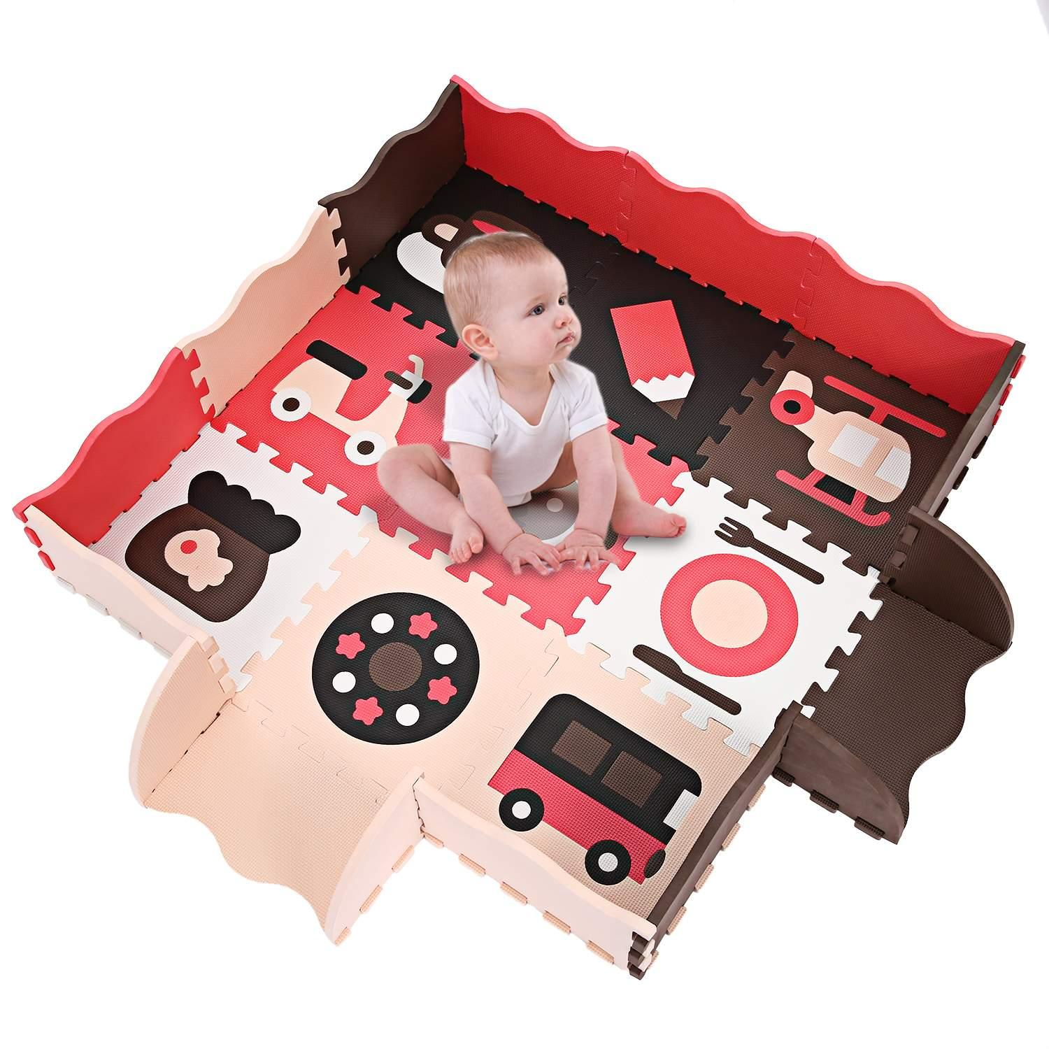 Elecmall Baby Non-Toxic Extra Thick Foam Large with Gate Fence Crawling Play Mat