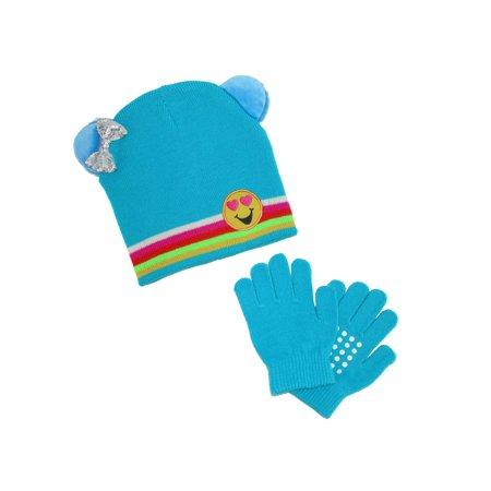 - Girl's Emoji Hat with Grip Gloves Set