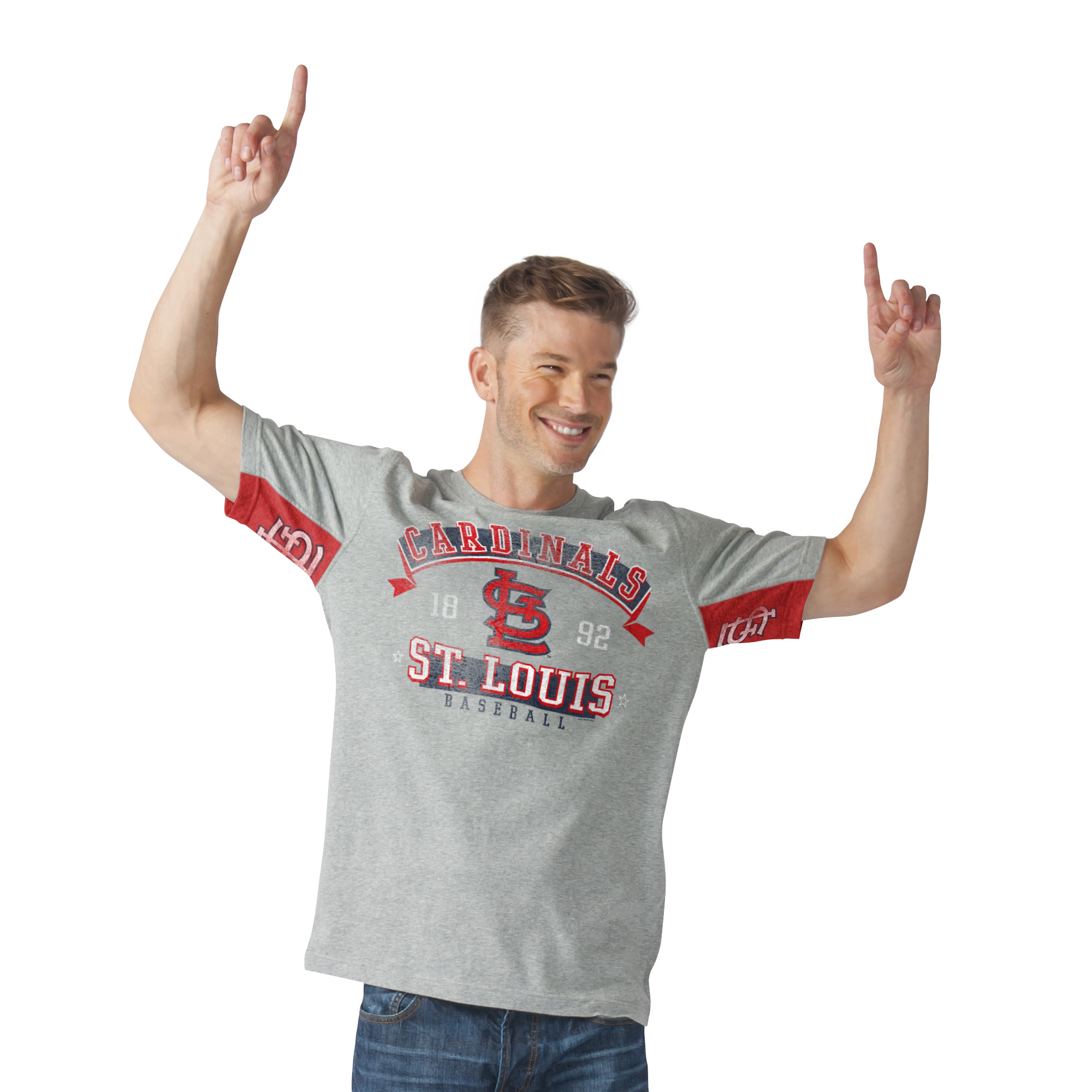 St. Louis Cardinals G-III Sports by Carl Banks Hands High Power Sweep Fashion T-Shirt - Gray