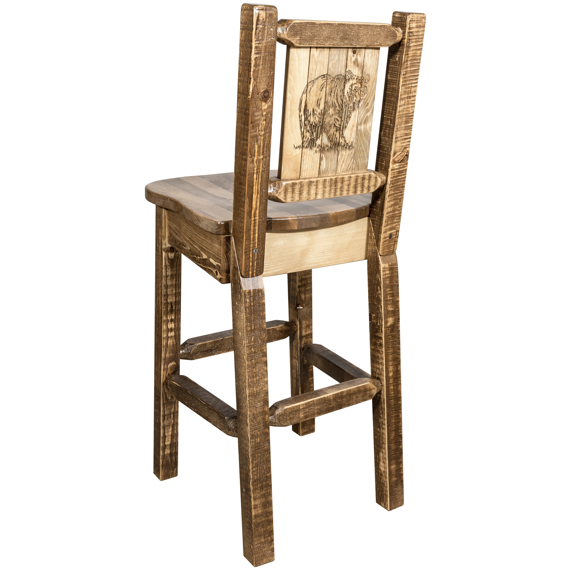 Homestead Collection Barstool w/ Back, Stain & Clear Lacquer Finish, Ergonomic Wooden Seat