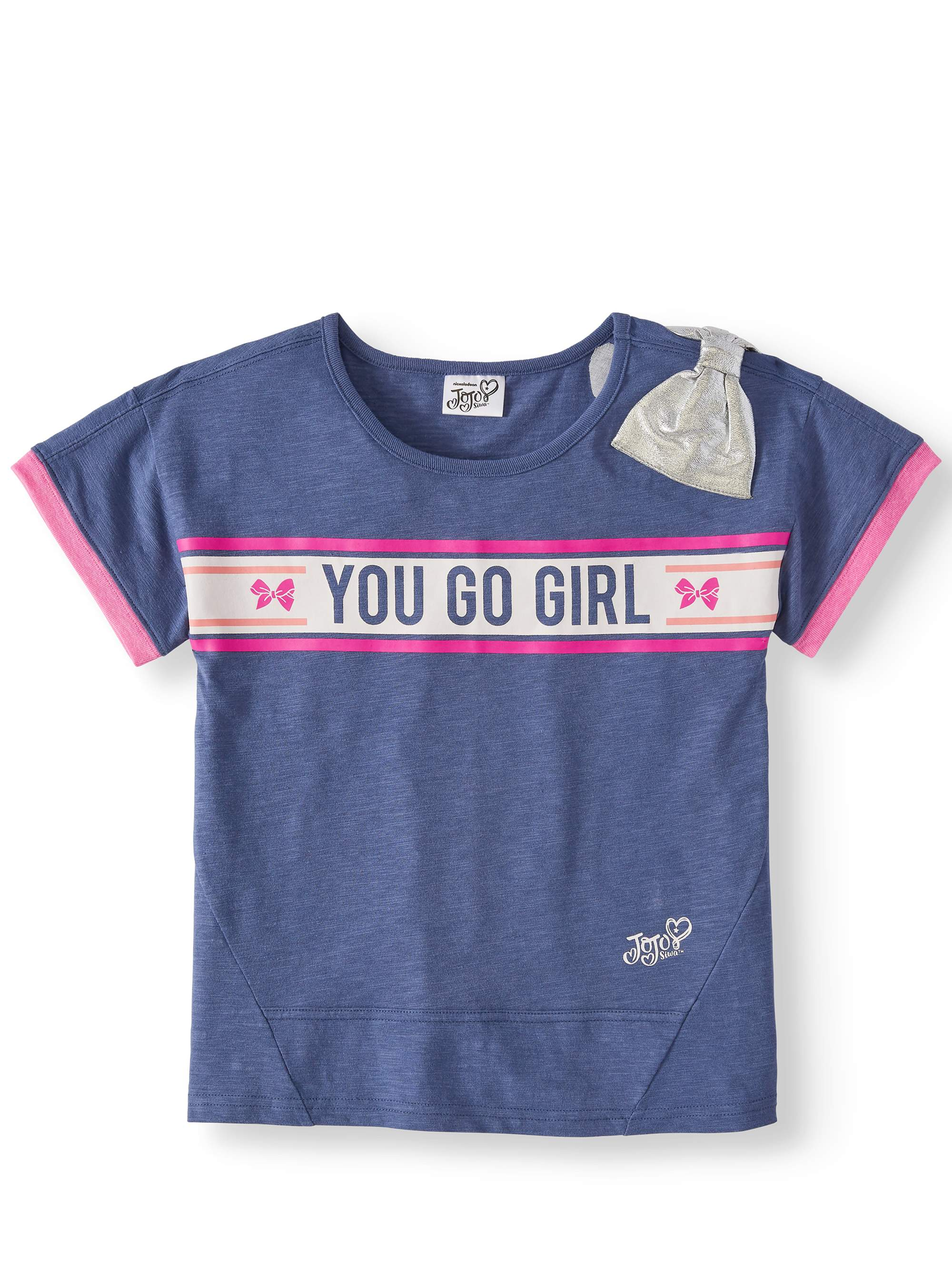 """You Go Girl"" Slub T-Shirt with Bow Shoulder (Little Girls & Big Girls)"