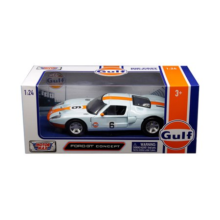 """Ford GT Concept #6 with """"Gulf"""" Livery Light Blue with Orange Stripe 1/24 Diecast Model Car by Motormax"""