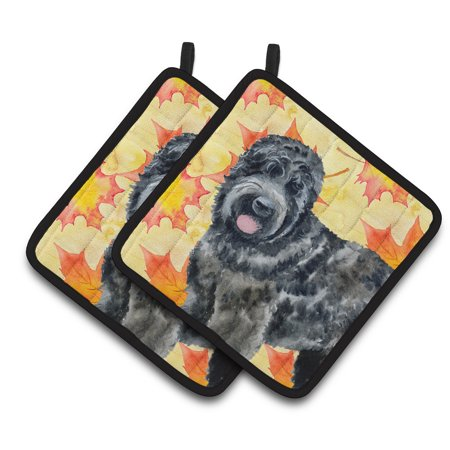 Caroline's Treasures Black Russian Terrier Fall Pair of Pot Holders