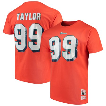 Miami Dolphins Jersey - Jason Taylor Miami Dolphins Mitchell & Ness Retired Player Name and Number T-Shirt - Orange