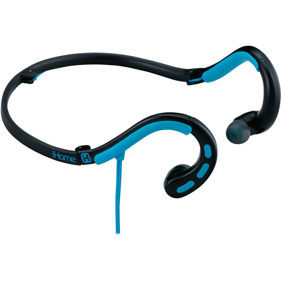 iHome Water-Resistant Behind-the-Neck Sport Earbuds with Microphone
