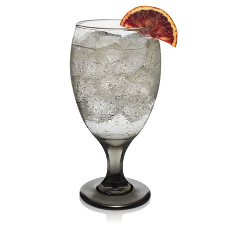 Libbey Classic Smoke Goblet Beverage Glasses, Set of 6