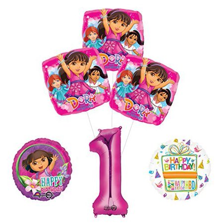 Dora The Explorer Birthday Decorations (Dora the Explorer 1st Birthday Party Supplies and Balloon Bouquet)