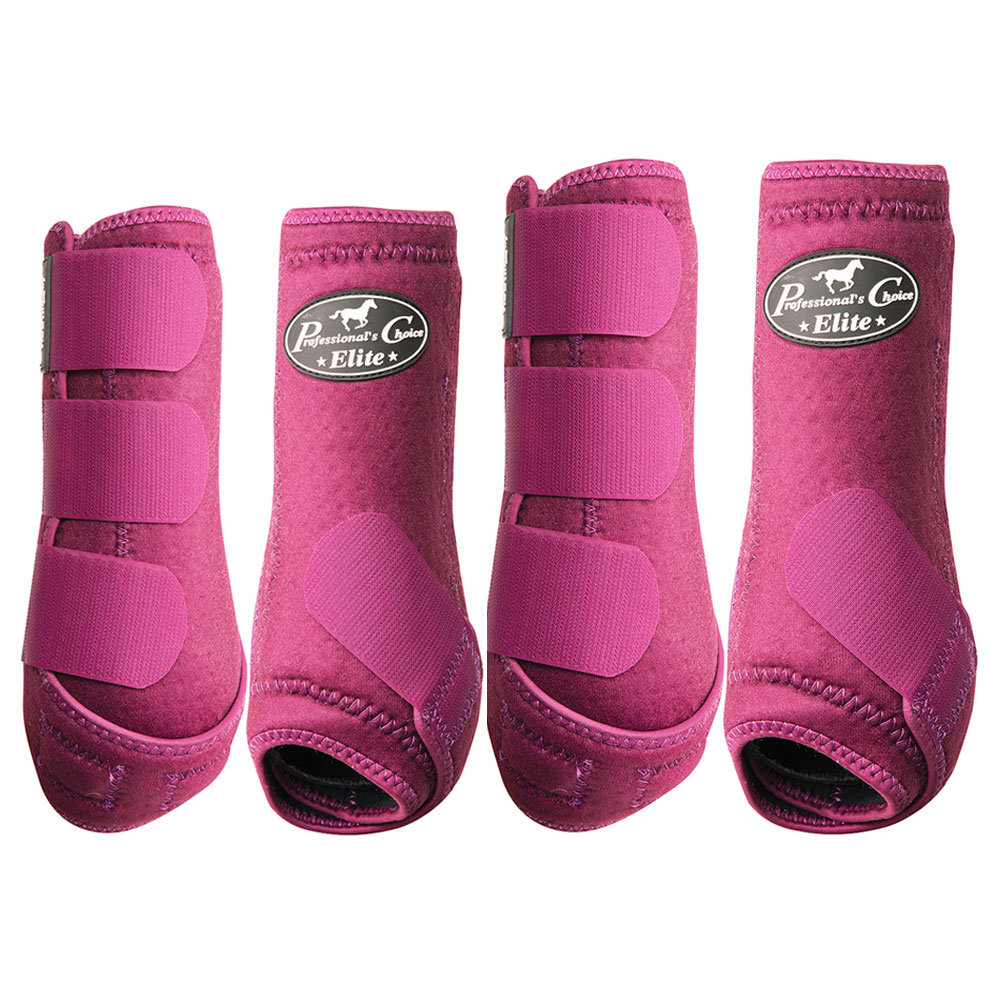 LARGE PROFESSIONAL CHOICE ELITE SPORTS MEDICINE HORSE LEG BOOTS 4 PACK WINE by PROFESSIONAL CHOICE