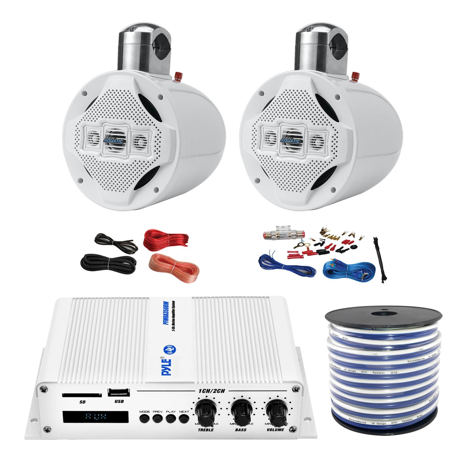 "Pyle PFMRA350BW 2-Channel Bridgeable 200 Watts RMS Marine Amplifier, 2x Lanzar AQWB8W 8"" 4 Way 1,200 Watts Wake Board Tower Speakers - White, Pyle 8 Gauge Amp Install Kit, Enrock 18g Speaker Wire"