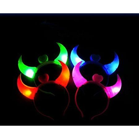 8 PACK LED Light Up Flashing Devil Horns Headband Glowing Devil Horns - Light Up Devil Horns