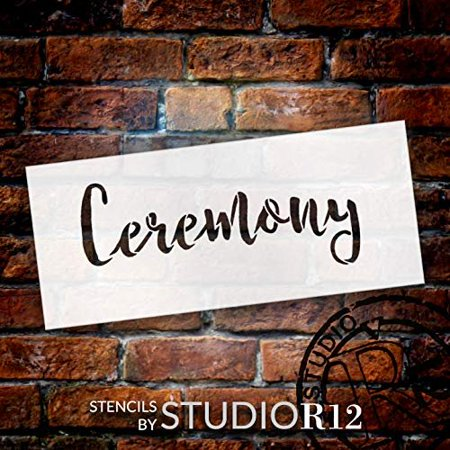 Wedding Sign Word - Ceremony - Rustic Script Stencil by StudioR12 | Reusable Mylar Template | Use to Paint Wood Signs - Pallets - Pillows - DIY Wedding Decor - Select Size (10