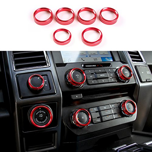 Red Aluminum Alloy Interior Air Conditioner Switch Knob Ring Cover Trim for Ford F150 XLT 2016 2017 2018