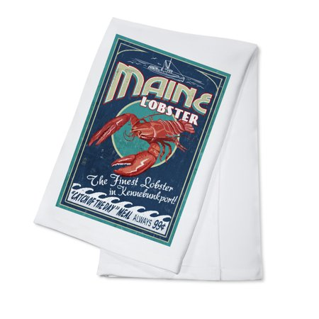 Kennebunkport, Maine - Lobster Vintage Sign - Lantern Press Artwork (100% Cotton Kitchen (Best Maine Lobster Delivery)