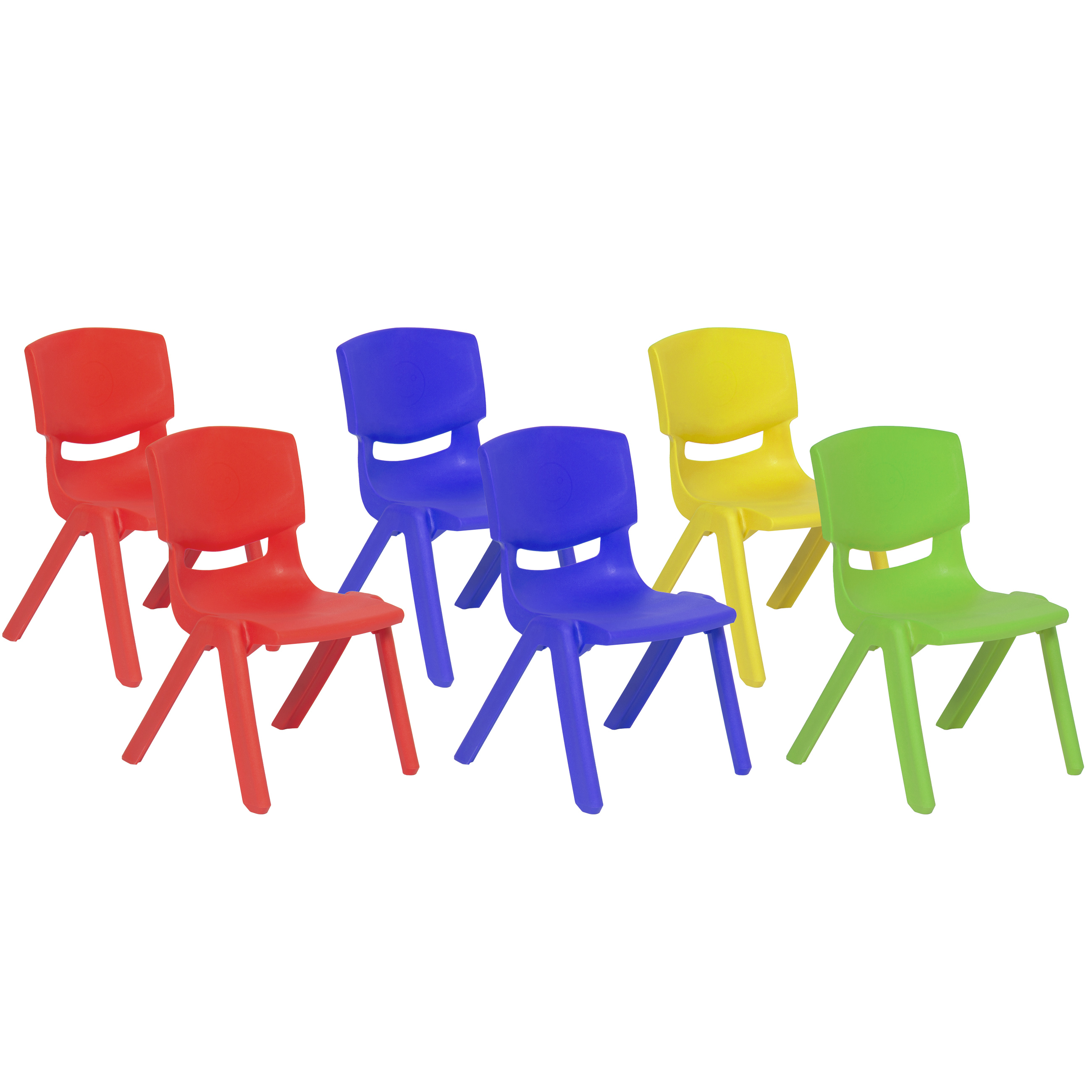 "Best Choice Products (6) 10"" Plastic Stacking School Chairs Multicolor"