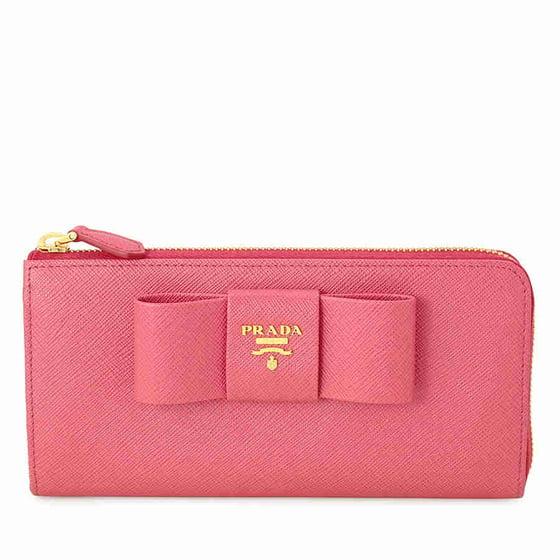 2e21cd5b4ebe Prada - Prada Fiocco Saffiano Leather Wallet - Peonia - Walmart.com