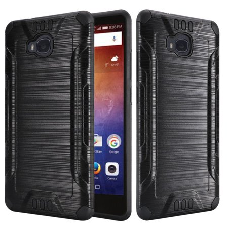 Huawei Ascend XT Case - Wydan Slim Brushed Metal Texture Hybrid Shockproof Phone Cover Black on