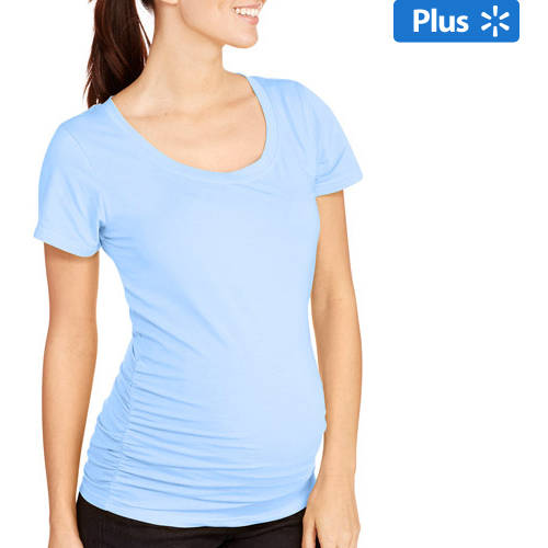 Oh! Mamma Maternity Plus-Size Short Sleeve Tee with Flattering Side Ruching