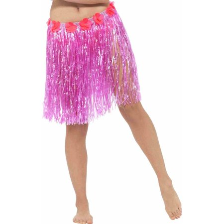 Hawaiian Hula Skirt Adult Costume Neon Pink - - Lilo Hawaiian Costume