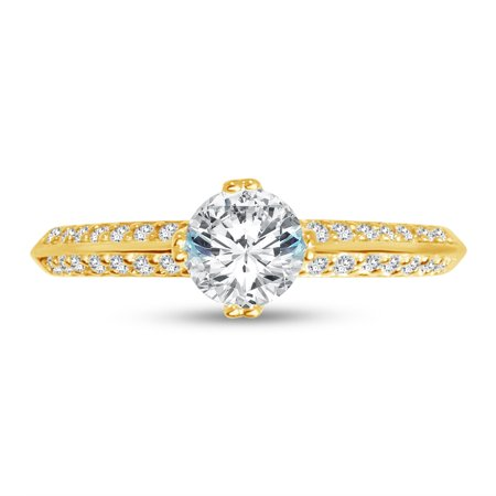 Solid 14k Yellow Gold Round Cut Two Pave Set Sidestones Solitaire Engagement Ring CZ Cubic Zirconia (1.0cttw., .50ct. Center) , Size 6.5