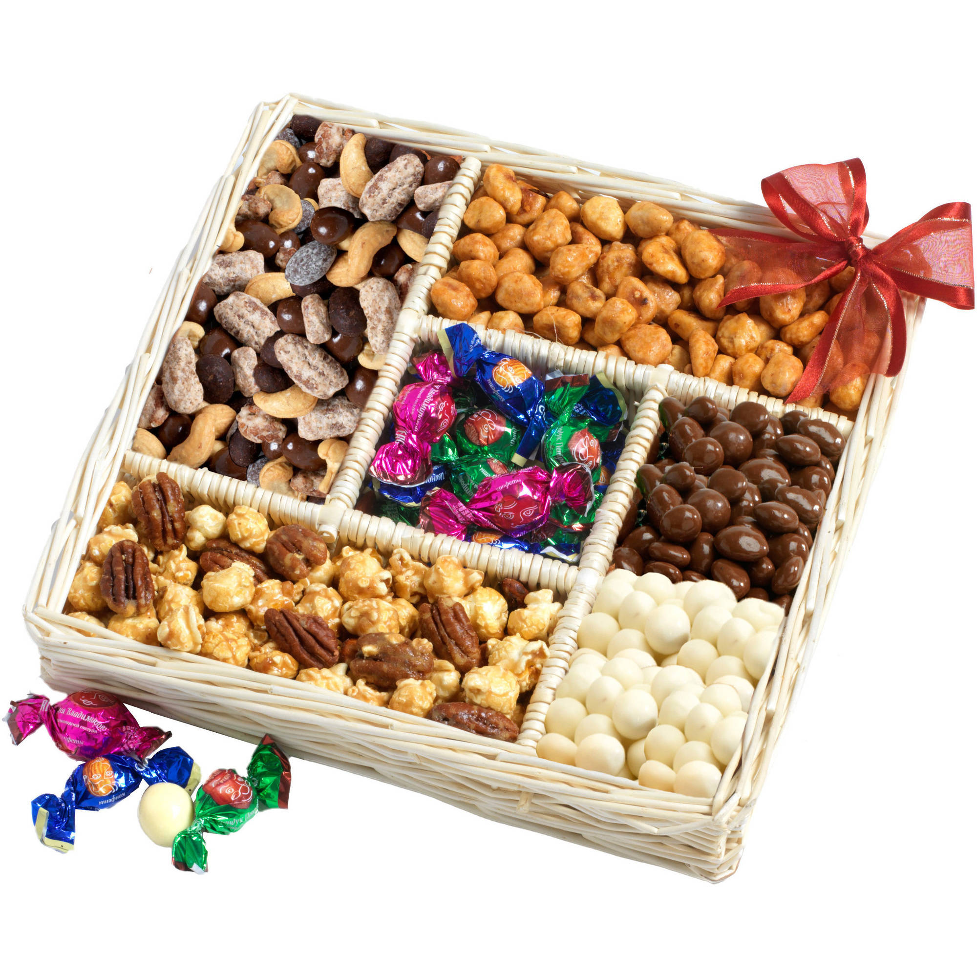 Broadway Basketeers Gourmet Sweet and Savory Nut Gift Basket, 7 pc