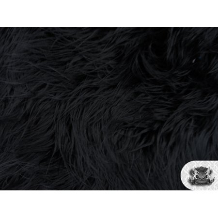 Faux Fake Fur Mongolian Fabric Sold by the Yard (BLACK)