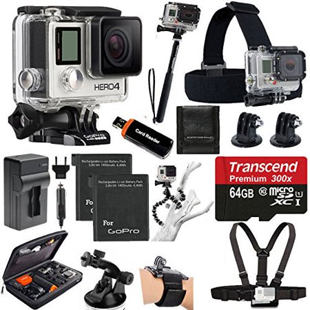 GoPro HERO4 SILVER Edition Camera HD Camcorder With Deluxe Carrying Case + Head Strap + Chest Strap + Suction Cup Mount ()