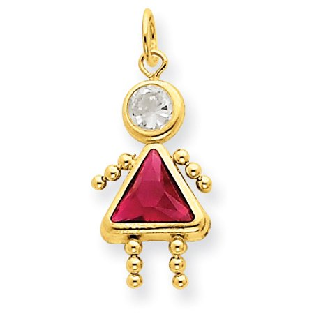Little Girl Birthstone Charm (14k July Girl Birthstone Charm)