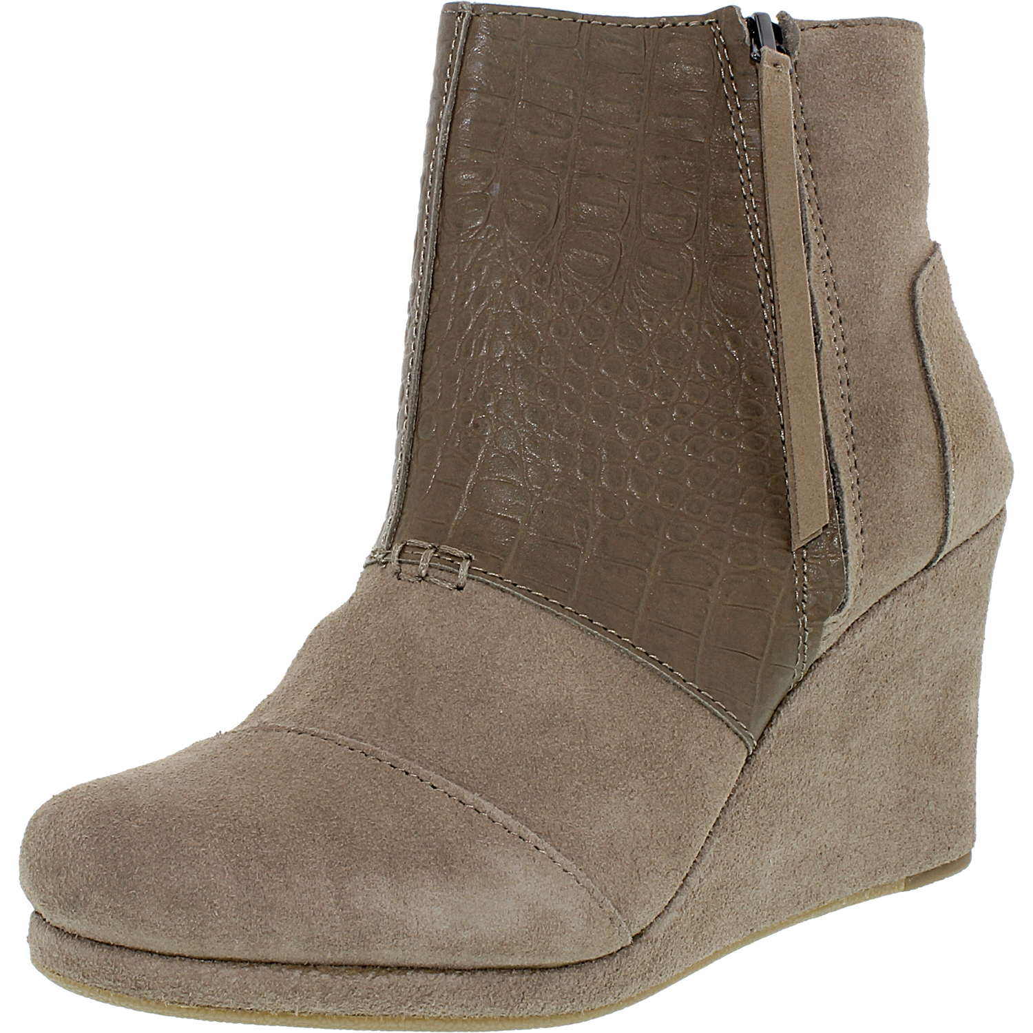 Toms Women\'s Desert Wedge High Taupe Suede Croc Emboss Ankle-High ...