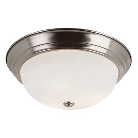 """Trans Globe Lighting PL-13718 2-Light Energy Saving 13"""" Flush Mount Round Ceiling Fixture with Frosted Shade"""
