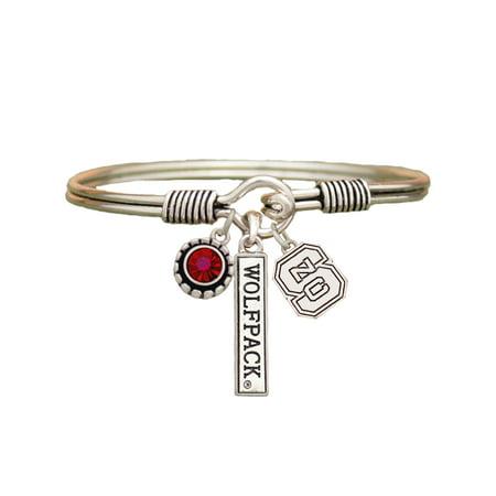 North Carolina State Wolfpack 3 Charm Silver Bangle Red Bracelet Jewelry NC State NCSU. (Carolina Panthers Jewelry)