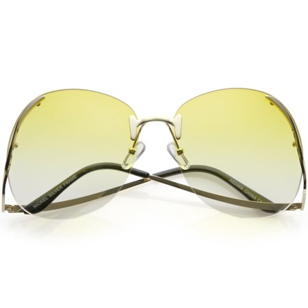 Women's Rimless Oversize Sunglasses Curved Metal Arms Round Color Tinted Lens 67mm (Gold / Yellow (Curved Sunglasses)