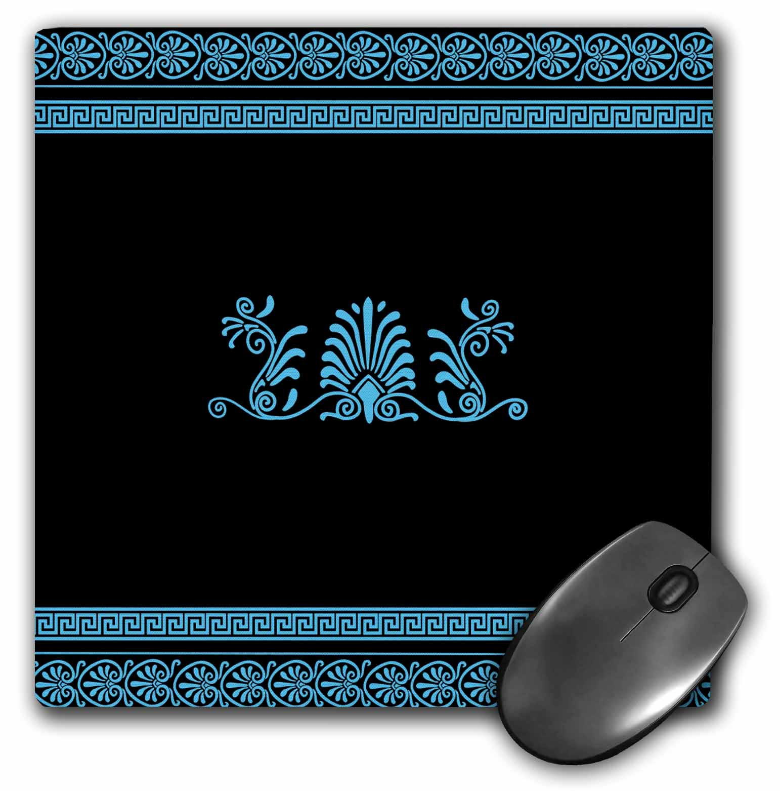 3dRose Blue and Black Ancient Greek Decorative Spirals and Palm Leaves - Classical Grecian Key, Mouse Pad, 8 by 8 inches