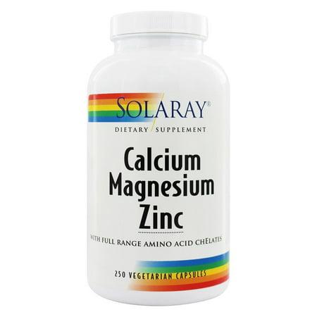Magnesium 250 Capsules (Solaray - Calcium Magnesium Zinc - 250 Vegetarian Capsules )