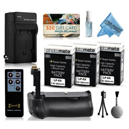 Multi Power Battery Grip + (3 Pack) Ultra High Capacity LP-E6 LPE6 Replacement Battery (2800mAh) + AC/DC Rapid Battery Charger for Canon EOS 70D DSLR SLR Digital Camera (BG-E14 BGE14 Replacement)