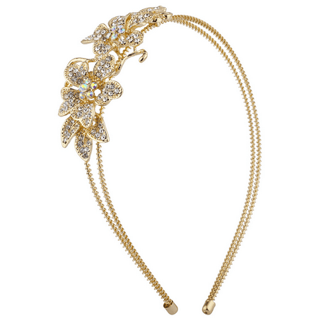 Lux Accessories Gold Tone Crystal Rhinestone Floral Flower 2 Row Coil Headband