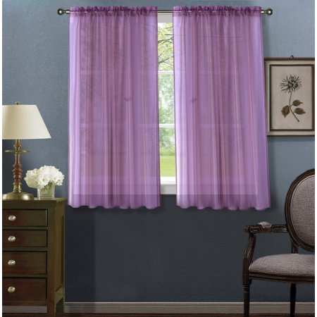 - 2pc Lilac Solid Sheer Voile Window Curtain Set, Two (2) Rod Pocket Panels 55