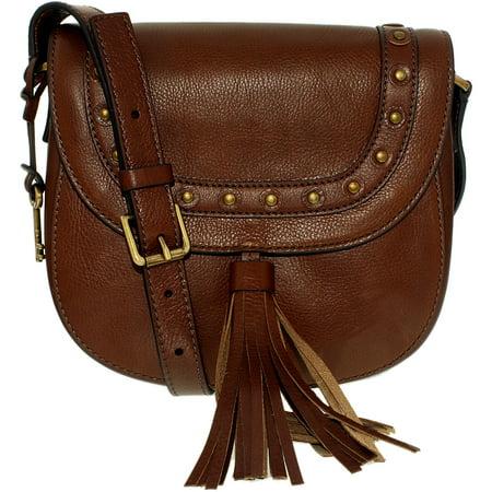 - Fossil Women's Emi Embellished Leather Saddle Bag Leather Cross-Body Satchel - Medium Brown