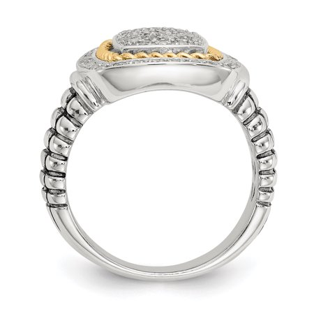 Sterling Silver Two Tone Silver And Gold Plated Sterling Silver w/14ky Diamond Ring - image 1 of 3
