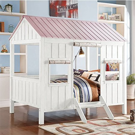ACME Spring Cottage Full Bed with Slat System in White & Pink