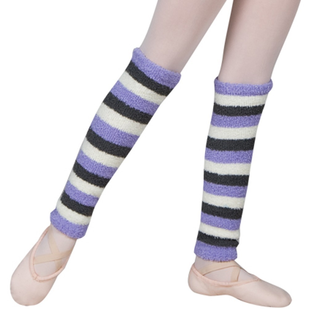 "Sansha Girls Lavender White Dark Green Stripe Soft Touch 16"" Malie Leg Warmers"