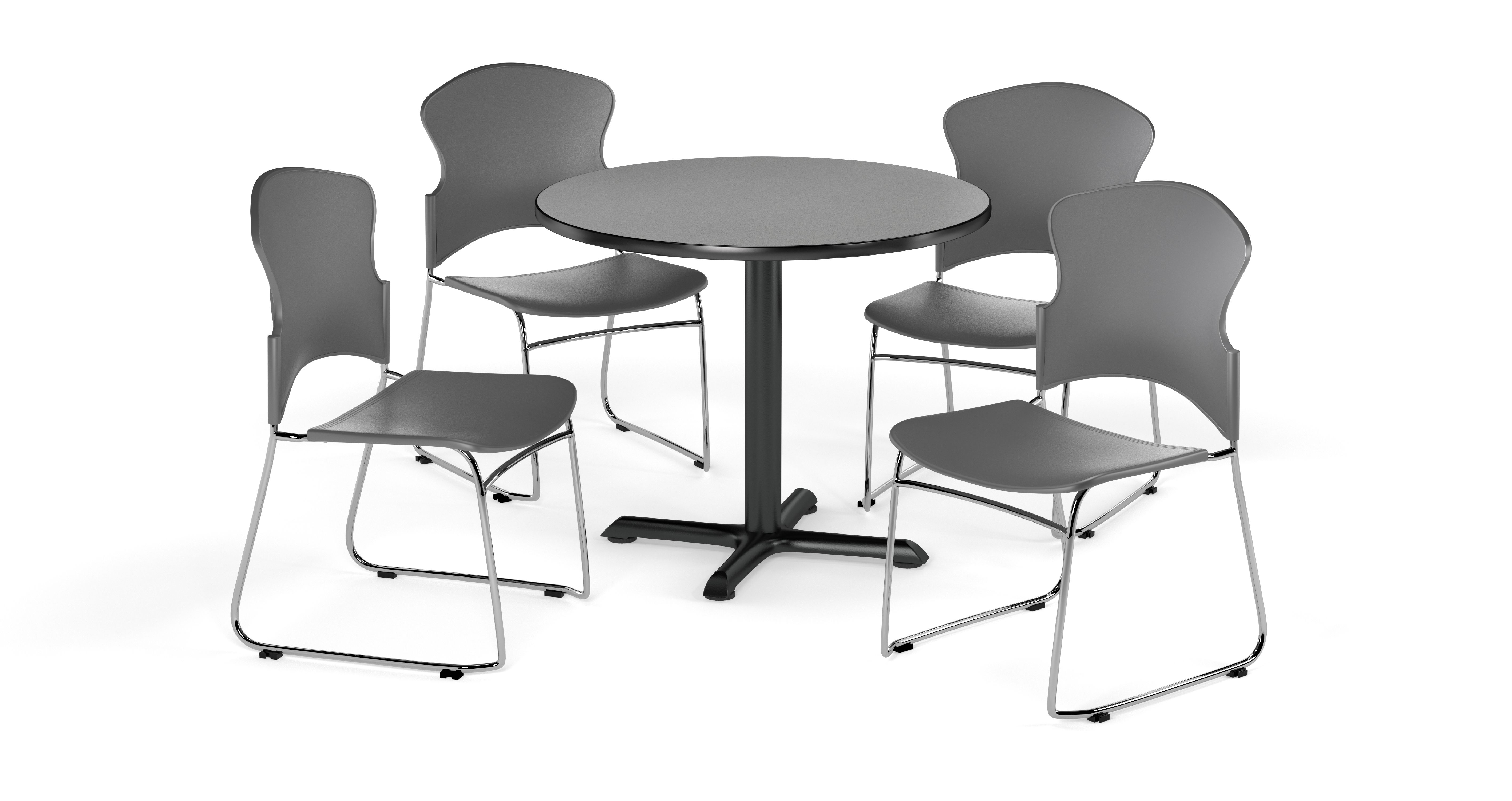 OFM Break Room Package PKG-BRK-027 36 Round Gray Nebula Table with 4 Black Seats