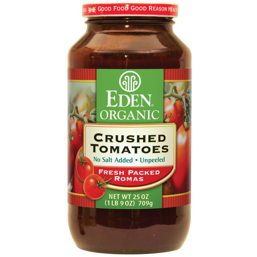 Eden Crushed Tomatoes, Organic, Amber Glass, 25 Ounce (Pack of 4) by
