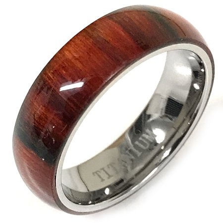Orange Brown Bands (6mm - Mens or Ladies With Pure Light Brown Cherry Hawaiian Koa Wood Domed Top Titanium Wedding Band Ring)