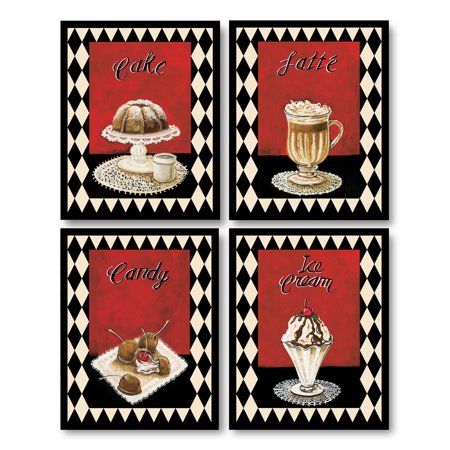 - Desserts I Fun Retro Checkered Dessert Signs; Cake, Latte, Candy and Ice Cream; Four 8x10 Poster Prints