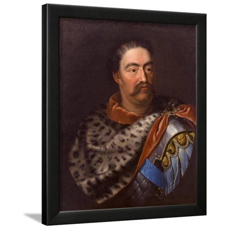 Portrait of John III Sobieski (1629-169), King of Poland and Grand Duke of Lithuania Framed Print Wall Art By Jan Tricius